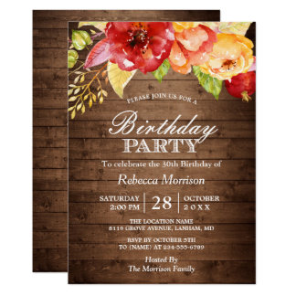 Rustic Wood Autumn Floral Fall Birthday Party Card