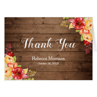 Rustic Wood Autumn Leaves Floral Thank You Card