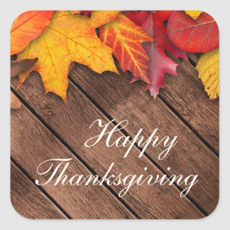 Rustic Wood Autumn Maple Leaves Happy Thanksgiving Square Sticker