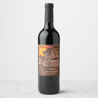 Rustic Wood Autumn Maple Leaves Thanksgiving Favor Wine Label