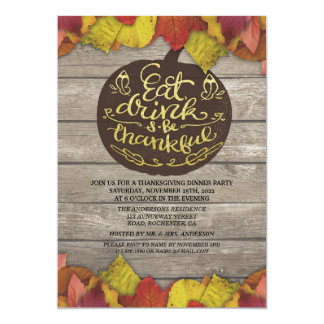 Rustic Wood Autumn Maple Thanksgiving Dinner Party Card
