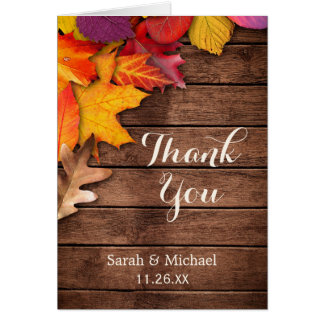 Rustic Wood Autumn Maple Thanksgiving Thank You Note Card