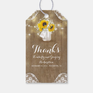 Rustic Wood Baby's Breath and Sunflowers Mason Jar Gift Tags
