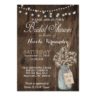 Rustic Wood Baby's Breath Bridal Shower Invitation