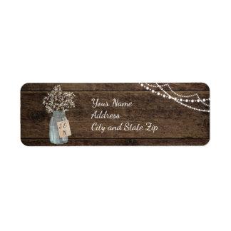 Rustic Wood Baby's Breath Mason Jar Wedding Return Address Label