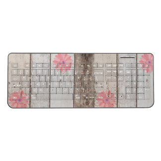 Rustic Wood Background Pink Flower Accents Wireless Keyboard