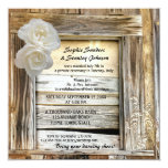Rustic Wood Barn Post Wedding Invitation 13 Cm X 13 Cm Square Invitation Card