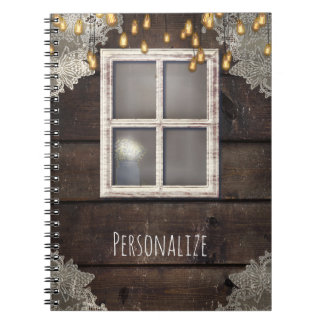 Rustic Wood Barn Window & Lights Country Farmhouse Notebook