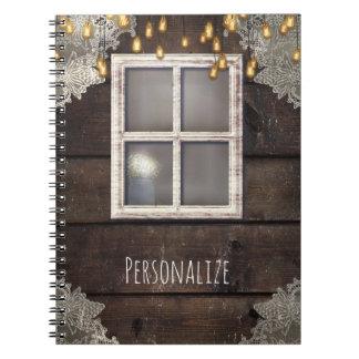 Rustic Wood Barn Window & Lights Country Farmhouse Notebooks