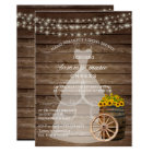 Rustic Wood Barrel Bridal Shower with Sunflowers Card