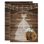 Rustic Wood Barrel Bridal Shower with White Floral Card