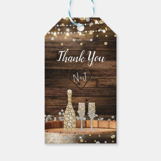 Rustic Wood Barrel Lights Champagne Modern Favour Gift Tags