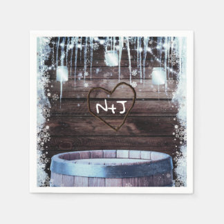 Rustic Wood Barrel & Lights Winter Barn Wedding Disposable Napkin