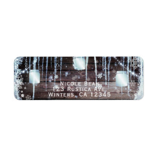 Rustic Wood Barrel & Lights Winter Barn Wedding Return Address Label
