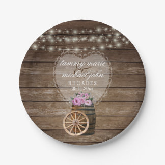 Rustic Wood Barrel Wedding and Pink Flowers Paper Plate