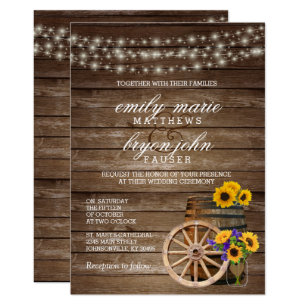 Sunflower wedding invitations zazzle rustic wood barrel wedding with sunflowers invitation stopboris Choice Image