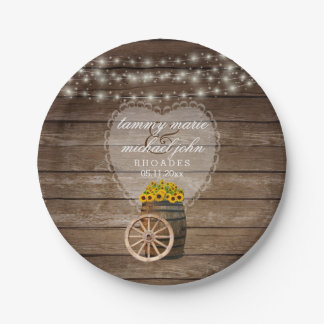 Rustic Wood Barrel Wedding with Sunflowers Paper Plate