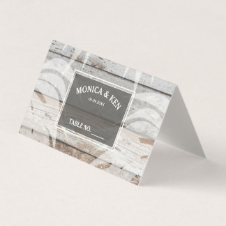 Rustic Wood Beach Palm Tree Wedding Table Place Card