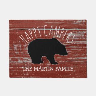 Rustic Wood Bear Family Name | Happy Campers Doormat
