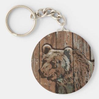 Rustic wood bear key ring