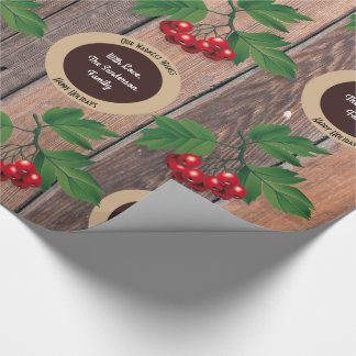 Rustic Wood, Berries & Personalization Christmas Wrapping Paper