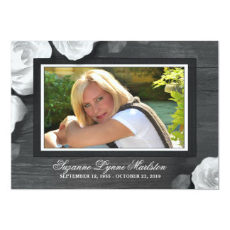 Rustic Wood Black White Roses Sympathy Thank You Card