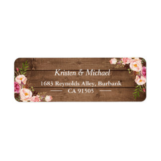 Rustic Wood Blush Pink Romantic Floral Return Address Label