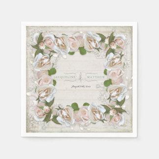 Rustic Wood Blush Pink Wild Rose Floral Art Wreath Paper Napkin