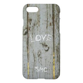 Rustic Wood Board Scratch Love Monogram iPhone 7/8 iPhone 8/7 Case