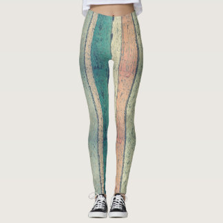 Rustic Wood Boards Design Leggings