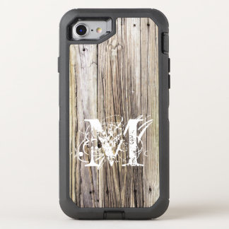 Rustic Wood Boards with Shabby Chic Monogram OtterBox Defender iPhone 7 Case
