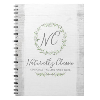 Rustic Wood & Botanical Leaf Branches Green Wreath Notebook