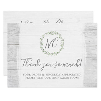 Rustic Wood & Botanical Leaf Branches Thank You Card