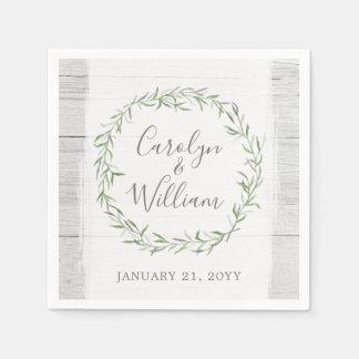 Rustic Wood & Botanical Leaves Wreath Wedding Disposable Serviettes