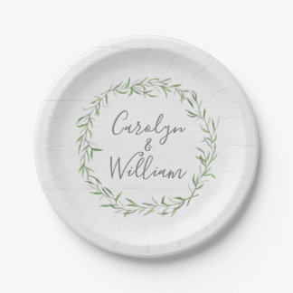 Rustic Wood & Botanical Leaves Wreath Wedding Paper Plate