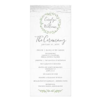 Rustic Wood & Botanical Wreath Wedding Program Rack Card