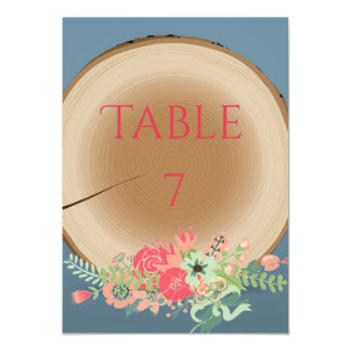 Rustic Wood Bouquet - Table Number Card