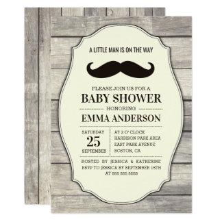 Rustic Wood Boy Baby Shower Invitation - Mustache