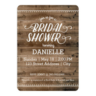Rustic Wood Bridal Shower 13 Cm X 18 Cm Invitation Card