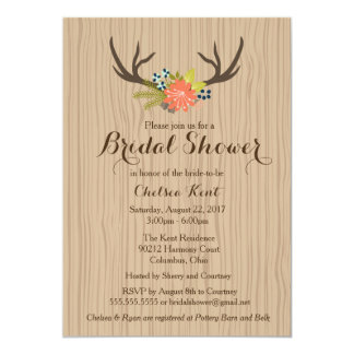 Rustic Wood Bridal Shower Invite floral antlers