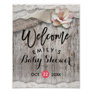 Rustic Wood Burlap Lace Baby Shower Welcome Sign