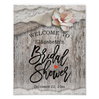 Rustic Wood Burlap Lace Bridal Shower Welcome Sign