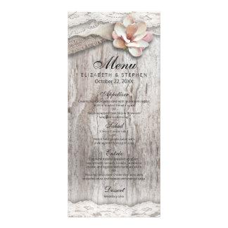 Rustic Wood & Burlap Lace Floral Barn Wedding Menu