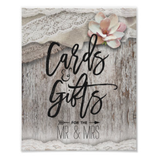 Rustic Wood Burlap Lace Floral Cards Gifts Wedding Poster