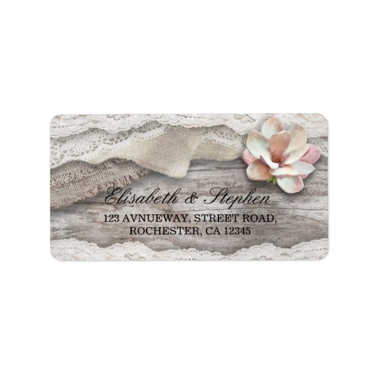 Rustic Wood Burlap Lace Floral Country Wedding Address Label