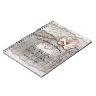 Rustic Wood Burlap Lace Floral Wedding Guestbook Notebook