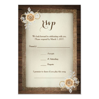 Rustic Wood Burlap & Lace Wedding RSVP Card