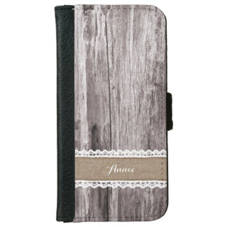 Rustic Wood & Burlap Stripe Custom Name iPhone 6 Wallet Case