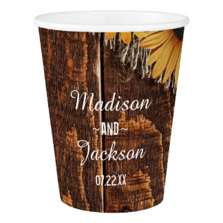 Rustic Wood & Burlap Sunflower Wedding Monogram Paper Cup