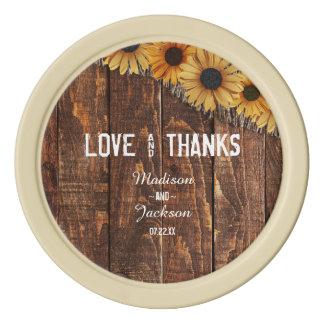 Rustic Wood & Burlap Sunflower Wedding Thank You Poker Chips